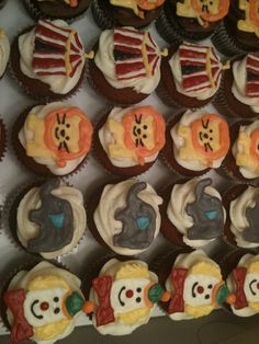 Circus themed baby shower cupcakes