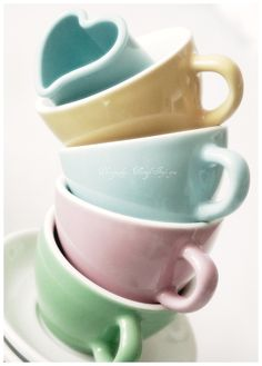 Pastel hearts mugs