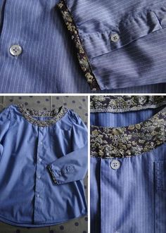 Inspo men's shirt refashion with contrast fabric added - super cute, thanks for pinning! Altered Couture, Shirt Refashion, Diy Shirt, Diy Clothing, Sewing Clothes, Sewing Alterations, Old Shirts, New Outfits, Diy Fashion