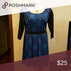 Blue damask long sleeve dress Beautiful blue damask dress of midi length, black sleeves and waistband. Isabel and Alice Dresses Midi
