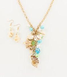 Long Sealife Charms Lariat Necklace Set, $30 #INPINKSPARKLE