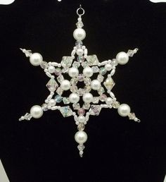 Snowflake Ornament  White Pearl and Clear by BarbaraJanesBeadwork, $4.50