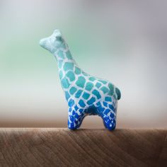 Le Insightful Giraffe Totem - Blue Ombre by le animalé