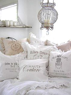 Beautiful Pillows with Transfers Applied - French Transfers at The Graphics Fairy