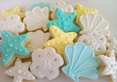 Sea shell Mini Sugar Cookies 3 dozen by acookiejar on Etsy, $33.95