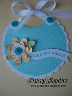 - Tracy Sanders created this Cricut Baby Bib Card using her Art Philosophy Cartridge from Close to my Heart. Baby Shower Invitaciones, New Baby Cards, Shaped Cards, Cricut Cards, Creative Cards, Creative Ideas, Creative Inspiration, Baby Kind, Handmade Baby