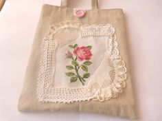 Embroidered Tote Bags  Shabby  chic bag  by CrossStitchElizabeth