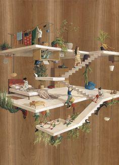 바르셀로나 기반의 아티스트 '신타 비달(Cinta Vidal)'은 중력이 뒤틀린 듯한 독특한 건축물 그림을 제작 한다. 그녀의 작품속 사람들은 하나의 작은 행성에서 사는 듯한 이색적인 장면을 보여 주며 나무와 건물, 사람들은 거꾸로 서있거나 옆으로 서있다.
