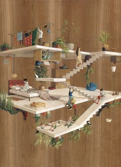 """In her latest series of paintings, Barcelona-based artist and illustrator Cinta Vidal Agulló defies gravity and architectural conventions to create encapsulated scenes of intersecting perspectives. Painted with acrylic on wood panels, Vidal refers to the paintings as """"un-gravity constructions"""" and s"""