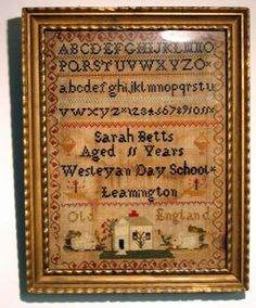 Early 19th century schoolgirl sampler in good period frame.  Dimensions: 18 3/8 inches high 14 1/2 inches wide  $ 495.00