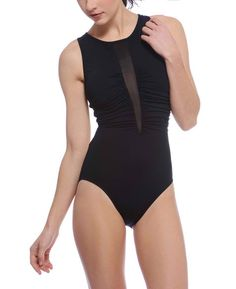 La Blanca Sheer Vented High Neck One Piece Over the Shoulder Swimsuit