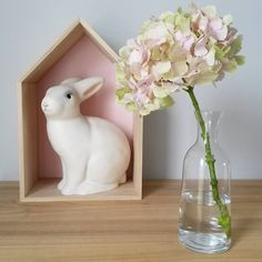 Pretty vignette - lapin lampe blanc