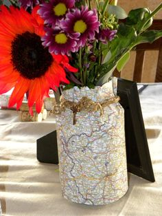 Map themed centerpieces on The Cherry On Top Events Party Blog