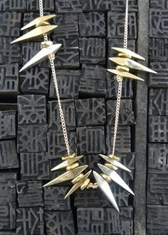 Wendy Nichol Sterling SIlver and Brass Sun Spike Necklace