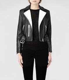 Womens Allen Leather Biker Jacket (White/Black) | ALLSAINTS.com