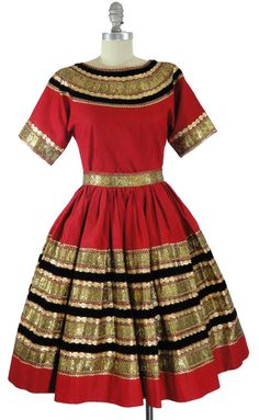 Patio Dress Squaw Dress Gold Rickrack by MomsGarageSale Vintage Dresses, Vintage Outfits, Vintage Fashion, Vintage Clothing, Vintage Patio, Rockabilly Outfits, Full Circle Skirts, Fashion Collage, Folk Costume