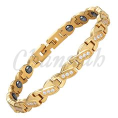 Channah 2017 Stainless Steel Ladies Gold Plating Bowknot Branded Crystals Magnetic Women Bracelet Free Shipping Charm