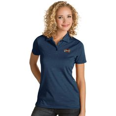 Women's Antigua Cleveland Cavaliers Quest Desert Dry Polo, Size: Medium, Blue (Navy)