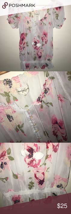 Abercrombie & Fitch Chiffon Floral Top Adorable floral top covered in roses. Perfect condition. I didn't wear this that often so it's like new! Works best with a tank or bralette underneath. Abercrombie & Fitch Tops Blouses