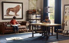 Adult-looking furniture in miniature! This kids' office/den is incredible.