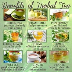Benefits of Herbal Teas. Re-pin if you find it  valuable.