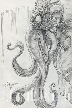 Cthulhu : The God of a New Dark Age by CreepySeb (John Cebollero) on deviantART Hp Lovecraft, Lovecraft Cthulhu, Cthulhu Tattoo, Yog Sothoth, Lovecraftian Horror, Call Of Cthulhu, Pulp, Arte Horror, Creature Concept