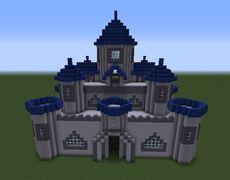 Castle With Blue Towers Minecraft Building Ideas Minecraft Castle Designs Minecraft Castle Minecraft Castle Blueprints