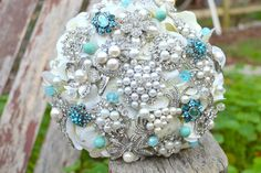 Deposit on Tiffany blue brooch bouquet --made to order bridal bouquet. $160.00, via Etsy.