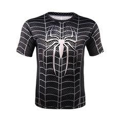 plus la taille X-Hommes Deadpool superman spiderman iron man imprimé manches courtes t shirt hommes O cou t chemise Tank Top Herren, Herren T Shirt, Superman, Iron Man, Deadpool, Black Spiderman, Spiderman Shirt, Spiderman Costume, Compression T Shirt