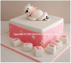 white teddy christening cake