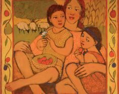 """Eve after the Garden: CANVAS ART 14x14"""" reproduction of Kathy Peterson painting from book Girls Who Choose God- other women/sizes available"""
