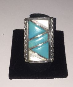 Southwestern Turquoise & Mother Of Pearl Sterling Silver 925 Ring Sz 7.75  | eBay