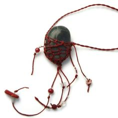 Natural Stone Necklace Rustic Black and Red Rock. $15.00, via Etsy.
