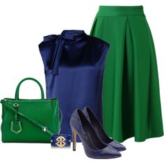 Green & Navy by johannahoj on Polyvore featuring moda, Alberta Ferretti, Chicwish, Fendi, Tory Burch and ALDO