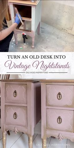 Turn An Old Desk Into Vintage Nightstands! Turn An Old Desk Into Vintage Nightstands! Denise ~ Salvaged Inspirations sidenise Repurposed and Upcycled &; DIY Makeovers TODAY I'M […] furniture videos Cheap Furniture Makeover, Diy Furniture Decor, Repurposed Furniture, Furniture Projects, Furniture Design, Paint Bedroom Furniture, Painted Nursery Furniture, Diy Furniture Repurpose, Distressed Bedroom Furniture