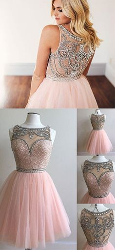 pink tulle short prom dress for teens, pink homecoming dress, pink short bridesmaid dress