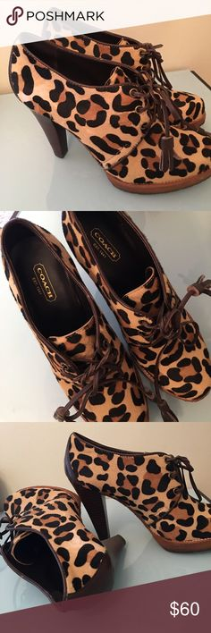 Coach leopard pattern Bootie Short-hair leopard pattern. Shoe laces are leather. Worn a couple times myself. Very stylish! Coach Shoes Ankle Boots & Booties
