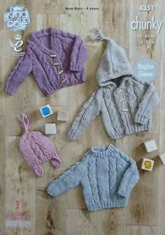 KNITTING PATTERN Babies Cable Cardigan, Hoodie, Jumper & Hat Chunky King Cole