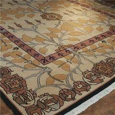 Cream and Orange Arts and Crafts Soumak Rug - traditional - rugs - Daniela Shuffler