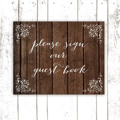 Guest Book Sign, Please Sign Our Guest Book, Wood Guest Book, Wedding Sign