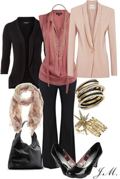 """Blackened Rose"" by jenniemitchell ❤ liked on Polyvore: black and pink is still a good choice."
