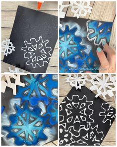 Easy Snowflake Drawing mit Kreide und Kleber - The Kitchen Table Classroom - Art for Homeschoolers - Ideen Christmas Art Projects, Winter Art Projects, School Art Projects, Teen Art Projects, Christmas Art For Kids, Christmas Videos, Christmas Drawing, Snowflake Drawing Easy, Simple Snowflake