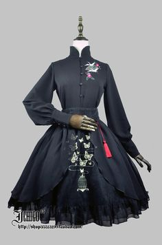 Custom Size Avaiable Qi Style Stand Collar Blouse By Gothic Mode, Gothic Lolita, Lolita Fashion, Gothic Fashion, Mode Kawaii, Lolita Mode, Looks Dark, Fantasy Dress, Kawaii Clothes