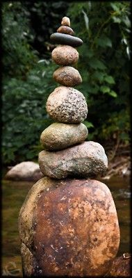 rock cairn - tall stack of stones --Lookit that bottom one! So pretty.