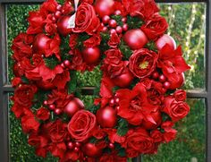 ** Rogers Gardens Christmas tree shops red wreath