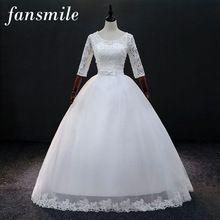 US  85.50 Fansmile Vintage Lace Up Vestidos de Novia Ball Wedding Dresses  2017 Sleeve Plus Size d12d549ab8f8
