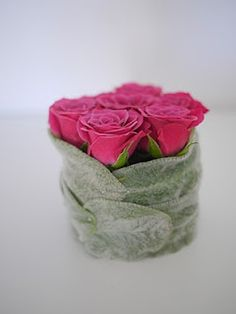 Roses wrapped with lamb's ear
