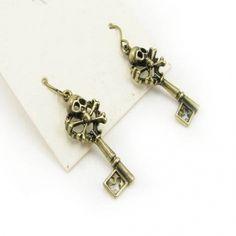 Vintage Bronze Skull Dangle Earrings