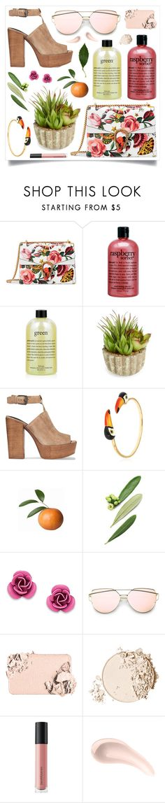 """It's a sunny day"" by racanoki ❤ liked on Polyvore featuring Gucci, philosophy, Allstate Floral, Rebecca Minkoff, Nach, Giorgio Armani, Too Faced Cosmetics, Bare Escentuals, Soap & Glory and RaCaNoKi"