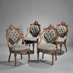 Seven-piece Renaissance Revival Carved and Parcel-gilt Walnut Parlor Suite - Price Estimate: $8000 - $12000